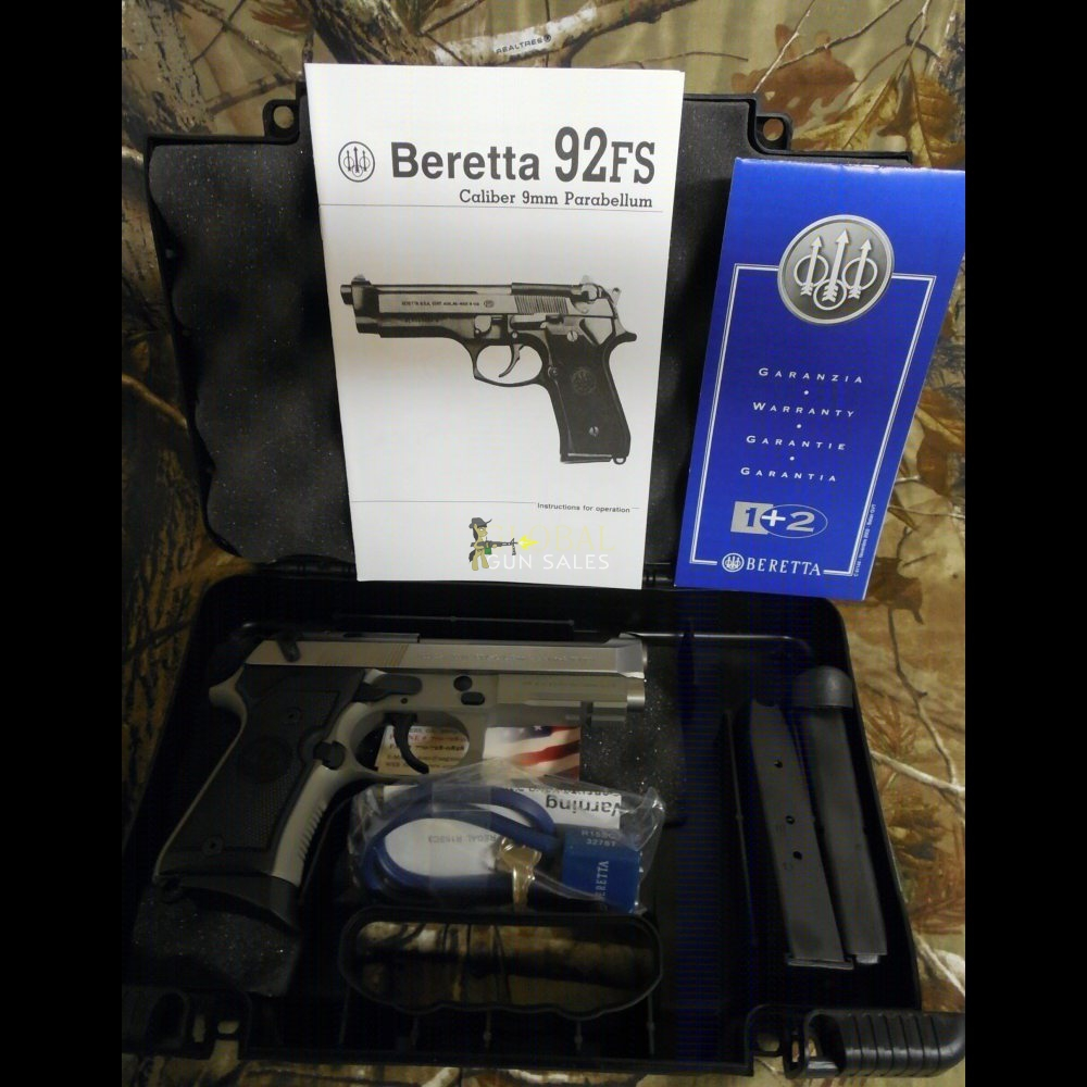 Beretta , 92FS, Single/Double, , 2-10+1 Magazines, , Stainless Steel Slide, N I B.